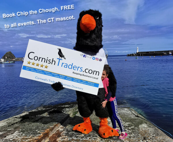 Chip the chough, Cornish Traders Chouch. Chip Cornwall, CT Verified